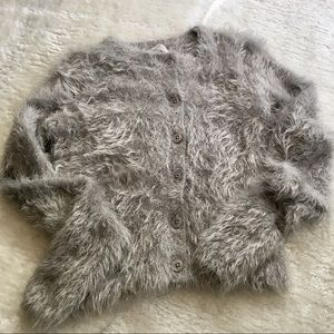 🌟Urban Outfitters grey fuzzy cardigan SIZE S